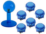 Sanwa-JLF-Serie-Fight-Stick-Mod-Kit-Lichtdoorlatend-Blauw-Translucent-Blue