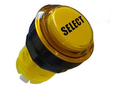 Transparante Led Arcade Drukknop 'Select' Geel 33mm / Boormaat 24-28mm