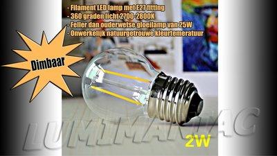 E27 LED Filament Lamp 2W Warm Wit 2700K Dimbaar