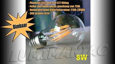 E27 LED Filament Lamp 8W Warm Wit 2700K Dimbaar