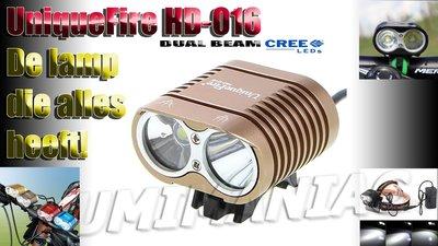 UniqueFire Dual Beam HD-016 CREE XM-L U2 4000 Lumen Bikelight Licht Bruin