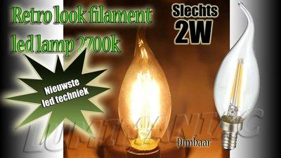 E14 Filament LED Lamp Kaarslamp Dimbaar 2W 250 lm 2700 K