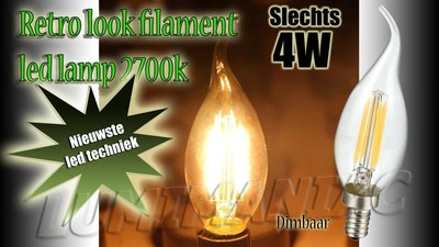 E14 Filament LED Lamp Kaarslamp Dimbaar 4W 500 lm 2700 K