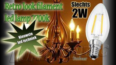 E14 Filament LED Lamp Peerlamp Dimbaar 2W 250 lm 2700 K