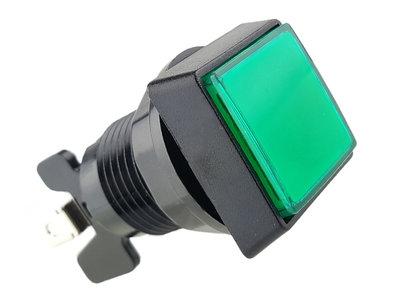 Vierkante 33mm High Profile LED Drukknop Groen voor Arcade Mame Quiz Gokkast Button Box etc.