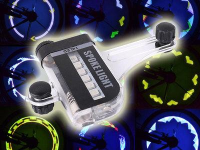 RGB 14 leds Spoke Light Spaakverlichting met 2-zijdige Projectie en 30 Patronen