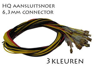 1M Enkelvoudig Aansluitdraad met 6,3mm Connector Rood, Geel of Zwart