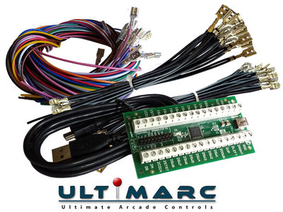 Ultimarc IPAC 2 USB Keyboard Encoder Interfase Board Inclusief Bedrading Set met 2,8mm en 4,8mm Connectors