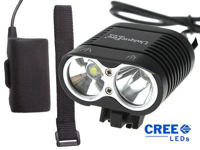 UniqueFire Dual Beam CREE XM-L U2 4000 Lumen Koplamp Zwart
