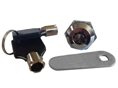 Verchroomd Veiligheidsslot 18x18mm met 2 Ronde Sleutels